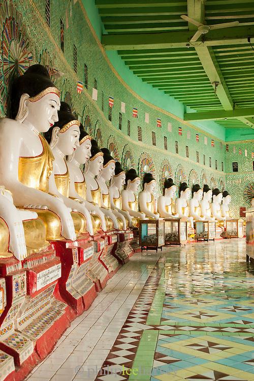 Buddhas at the U Min Thone Sel pagoda in Sagaing, Myanmar