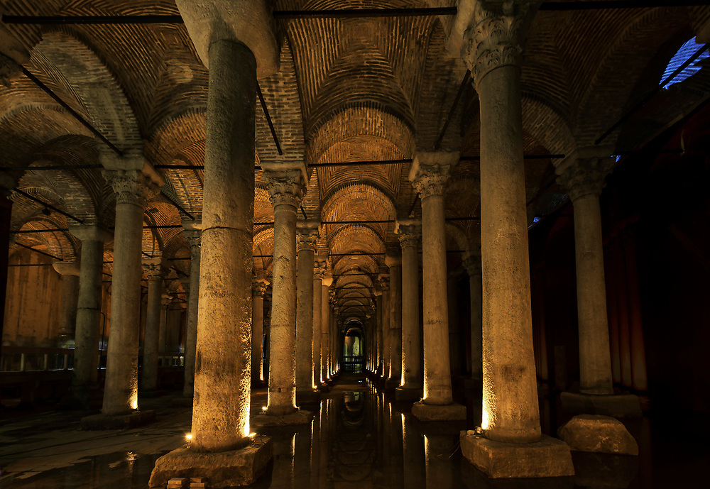 The Basilica Cistern, or Cisterna Basilica, is the largest of several hundred ancient cisterns that lie beneath the city of Istanbul