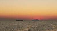 Cargo Ships at Dawn on the English Channel. Image taken with a Leica X2 camera (ISO 200, 24 mm, f/11, 1/60 sec).