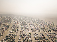 NEVADA, USA - 31 August 2017 : Aerial view of Burning man festival in Pershing, Nevada county, USA.
