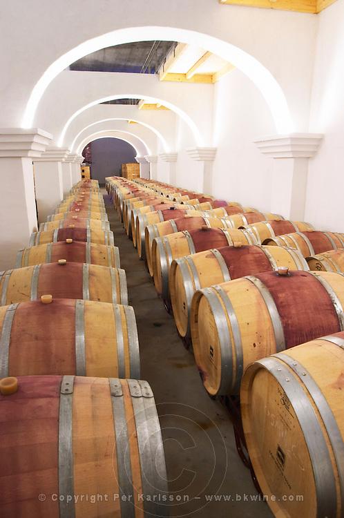 The barrel aging cellar. Herdade da Malhadinha Nova, Alentejo, Portugal