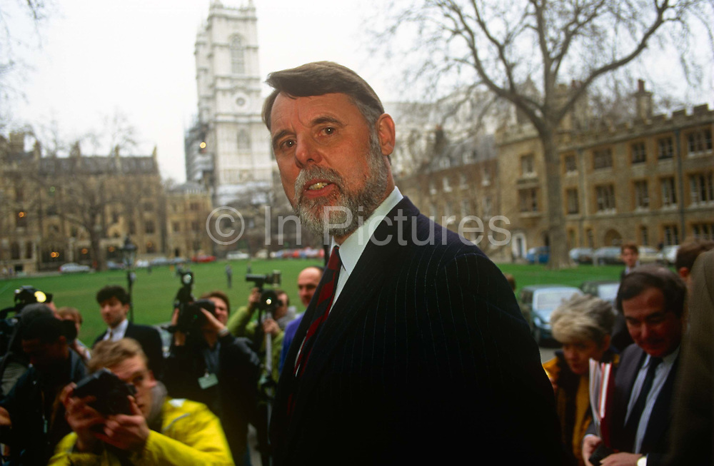 Former Lebanon hostage Terry Waite speaks outside the Church of Englands Synod on 1st February 1992 in London, England. Terry Waite CBE is an English humanitarian and author. He was the Assistant for Anglican Communion Affairs for the then Archbishop of Canterbury, Robert Runcie, in the 1980s and held captive in Lebanon from 1987 to 1991.