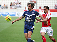 Paul Baysse of Bordeaux, Mathieu Cafaro of Reims during the Friendly Game football match between Stade de Reims and Girondins de Bordeaux on August 8, 2020 at the Auguste Delaune Stadium, in Reims, France - Photo Juan Soliz / ProSportsImages / DPPI