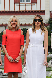 Brigitte Macron, wife of French President Emmanuel Macron, U.S. First Lady Melania Trump pose in the garden of the Villa Arnaga, House-museum of Edmond Rostand, during a visit on traditional Basque culture in Combo-les-Bains, near Biarritz as part of the G7 summit, August 25, 2019. Photo by Thibaud Moritz/ABACAPRESS.COM