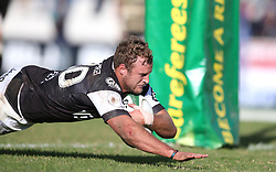 Hanco Venter of the Sharks dives over to score a try during the Currie Cup premier division match between the Boland Cavaliers and The Sharks  held at Boland Stadium, Wellington, South Africa on the 19th August 2016<br /> <br /> Photo by:   Shaun Roy/ Real Time Images