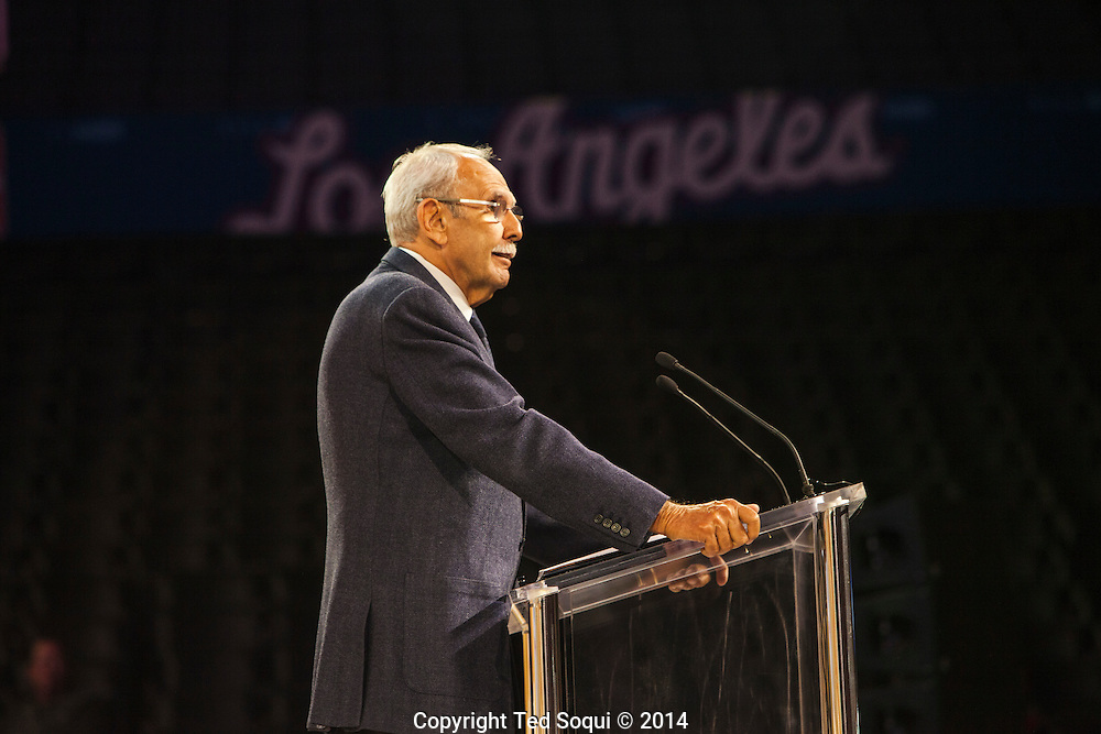 Voice of the Clippers, Ralph Lawler.<br /> The Los Angeles Clippers basketball team held a fan rally where the new team owner, Steve Ballmer, was introduced. Several players and the coach, Doc Rivers, attended the rally held at Staples Center.