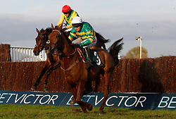 Finian's Oscar ridden by Bryan Cooper trails Movewiththetimes ridden by Barry Geraghty over the last fence before going on to win The Steel Plate and Sections Novices' Steeple Chase Race run during day one of the November Meeting at Cheltenham Racecourse, Cheltenham.