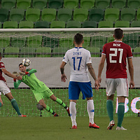 Goalkeeper Vassilis Barkas of Greece fails to save a goal during the UEFA Nations' League qualifying match between Hungary and Greece at the Groupama Arena stadium in Budapest, Hungary on Sept. 11, 2018. ATTILA VOLGYI