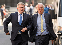 © Licensed to London News Pictures. 23/07/2019. London, UK. SIR EDWARD LISTER (R), Chief of Staff to Boris Johnson and Party Chairman BRANDON LEWIS, are seen arriving at Conservative Party headquarters. Today the Conservative Party Elected Boris Johnson as their new leader and Prime Minister, following Theresa May's announcement that she will step down. Photo credit: Ben Cawthra/LNP