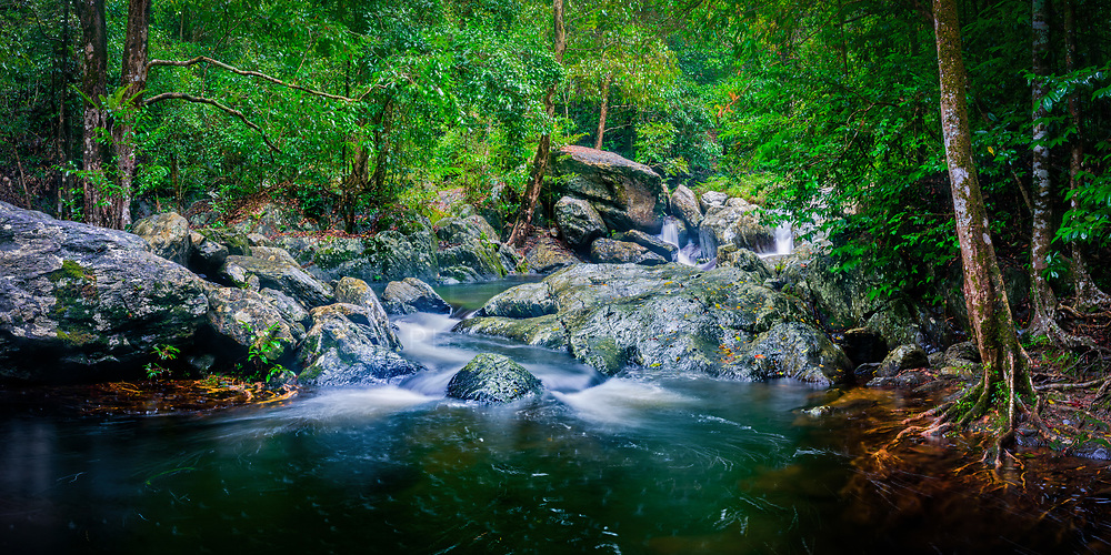 A panoramic photograph of a section of Stoney Creek, captured in the wet season.<br /> <br /> Limited Edition of 125 Prints