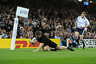 Dane Coles of New Zealand scores a try in 1st half. Rugby World Cup 2015 pool c match, New Zealand v Georgia at the Millennium Stadium in Cardiff, South Wales  on Friday 2nd October 2015.<br /> pic by  Andrew Orchard, Andrew Orchard sports photography.