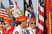28 MAY 2007 -- PHOENIX, AZ: Members of the Marine Corps League prepare to march in the honor guard during the Memorial Day ceremony at the National Memorial Cemetery in Phoenix, AZ, Monday.  Photo by Jack Kurtz/ZUMA Press