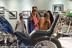 Bean're at the Old Iron - Young Blood exhibition media and industry reception in the Motorcycles as Art gallery at the Buffalo Chip during the annual Sturgis Black Hills Motorcycle Rally. Sturgis, SD. USA. Sunday August 6, 2017. Photography ©2017 Michael Lichter.