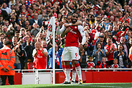 Alexandre Lacazette of Arsenal celebrates after he scores his teams second goal of the game.  Premier league match, Arsenal v AFC Bournemouth at the Emirates Stadium in London on Saturday 9th September 2017. pic by Kieran Clarke, Andrew Orchard sports photography.