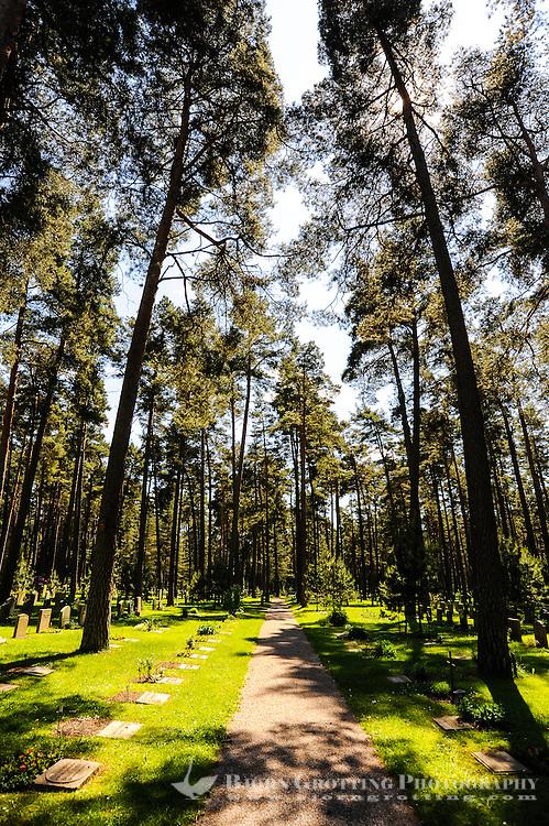 Sweden, Stockholm. Skogskyrkogården, The Woodland Cemetery.