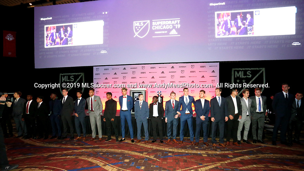 CHICAGO, IL - JANUARY 11: Hopeful players present for the draft are acknowledged before start of the draft. The MLS SuperDraft 2019 presented by adidas was held on January 11, 2019 at McCormick Place in Chicago, IL.