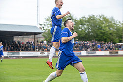 Cove Rangers Jordan Brown celebrates after scoring their second goal. Cove Rangers have become the SPFL's newest side and ended Berwick Rangers' 68-year stay in Scotland's senior leagues by earning a League Two place. Berwick Rangers 0 v 3 Cove Rangers, League Two Play-Off Second Leg played 18/5/2019 at Berwick Rangers Stadium Shielfield Park.