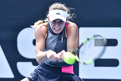 January 3, 2018 - Auckland, New Zealand - CAROLINE WOZNIACKI of Denmark plays a backhand in her  match against P. Martic of Croatia during Day Three of the ASB Classic in Auckland, New Zealand. The world No 3 cruised into the quarterfinals with a 6-2 6-2 win.   (Credit Image: © Shirley Kwok/Pacific Press via ZUMA Wire)