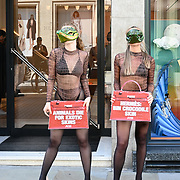 """2021-09-08 London, UK. Protest """"Every crocodile-skin Hermès bag represents the pain of a tortured animal whose skin was torn from them,"""" says PETA Senior Campaigns Manager Kate Werner. """"PETA is joining this huge push to get Hermès to drop exotic skins at last."""""""