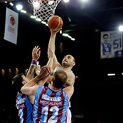 Anadolu Efes's Nenad Krstic (B) during their Turkish Basketball League Play Off Semi Final round 2 match Anadolu Efes between Trabzonspor at Abdi Ipekci Arena in Istanbul Turkey on Friday 31 May 2015. Photo by Aykut AKICI/TURKPIX