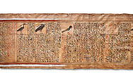 Ancient Egyptian Book of the Dead papyrus - From  tomb of Kha, Theban Tomb 8 , mid-18th dynasty (1550 to 1292 BC), Turin Egyptian Museum. white background .<br /> <br /> If you prefer to buy from our ALAMY PHOTO LIBRARY  Collection visit : https://www.alamy.com/portfolio/paul-williams-funkystock/ancient-egyptian-art-artefacts.html  . Type -   Turin   - into the LOWER SEARCH WITHIN GALLERY box. Refine search by adding background colour, subject etc<br /> <br /> Visit our ANCIENT WORLD PHOTO COLLECTIONS for more photos to download or buy as wall art prints https://funkystock.photoshelter.com/gallery-collection/Ancient-World-Art-Antiquities-Historic-Sites-Pictures-Images-of/C00006u26yqSkDOM