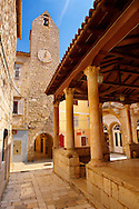 Main street and loggia of Rab town, Croatia .<br /> <br /> Visit our MEDIEVAL PHOTO COLLECTIONS for more   photos  to download or buy as prints https://funkystock.photoshelter.com/gallery-collection/Medieval-Middle-Ages-Historic-Places-Arcaeological-Sites-Pictures-Images-of/C0000B5ZA54_WD0s