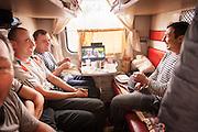 Passengers inside their cabin on-board the BAM Railway Line Baikal-Amur Mainline). Siberia, Russia