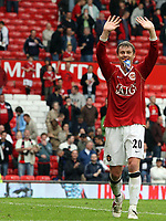 Photo: Paul Thomas.<br /> Manchester United v Newcastle United. The Barclays Premiership. 01/10/2006.<br /> <br /> Ole Gunnar Solskjaer of Man Utd leaves the field happy after two goals.