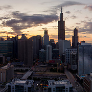 Just after sunrise looking eastward toward Chicago Loop, August 2019.