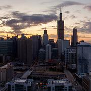 Just after sunrise looking eastward toward Chicago Loop, August 2019.