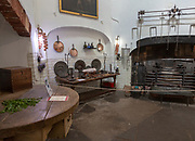Kitchen room with range for cooking inside Berkeley castle, Gloucestershire, England, UK
