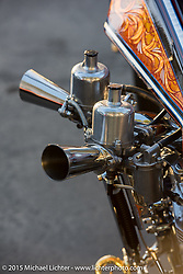 Dalton Walker's custom Bay Area style Harley-Davidson Panhead digger builder invite bike gets unveiled at a pre-party for Born Free-7. CA, USA. . June 25, 2015.  Photography ©2015 Michael Lichter.