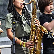 London, UK. 21th July, 2019. Rolling Brook School Band performs at the Lambeth Country Show 2019 a family festival with live music food & drinks, Arts and Culture and animal show at Brockwell Park, London.