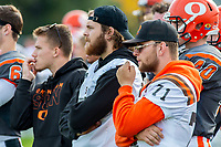 KELOWNA, BC - OCTOBER 6: Javen Kaechele #84, Christian Horner #57 and Austin Bowes #71 of Okanagan Sun stand on the sidelines against the VI Raiders at the Apple Bowl on October 6, 2019 in Kelowna, Canada. (Photo by Marissa Baecker/Shoot the Breeze)
