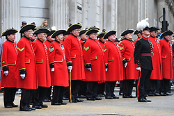 Chelsea Pensioners observe a two minute silence at Mansion House in London, ahead of the Lord Mayor's parade.