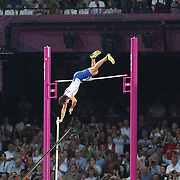 Renaud Lavillenie, France in action winning the Gold Medal during the Men's Pole Vault Final at the Olympic Stadium, Olympic Park, Stratford during the London 2012 Olympic games. London, UK. 10th August 2012. Photo Tim Clayton