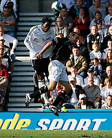 Photo: Steve Bond.<br />Derby County v Bolton Wanderers. The FA Barclays Premiership. 29/09/2007. Claude Davis (L) and Kevin Davies in another aeriel challange