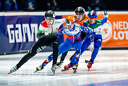Dylan Hoogerwerf of Netherlands, Shaoang Liu of Hungary, Semen Elistratov of Russia, Pietro Sighel of Italy in action on 500 meter during ISU World Short Track speed skating Championships on March 06, 2021 in Dordrecht