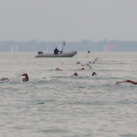 Participants compete in the Junior Team 3 km competition of the FINA World Junior Open Water Swimming Championships in Balatonfured (about 132 km South-West from capital city Budapest), Hungary on September 07, 2014. ATTILA VOLGYI