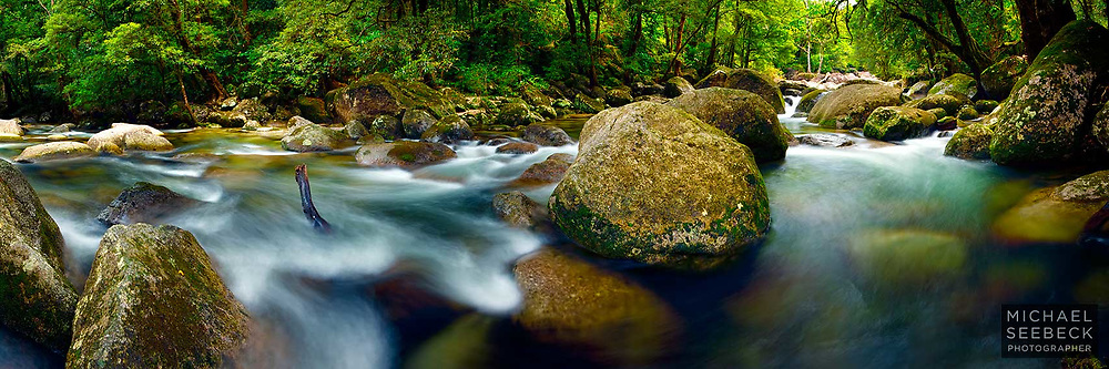 Panoramic Photograph of a Rainforest River flowing into Mossman Gorge.<br /> <br /> Code: HAQT0024<br /> <br /> Limited Edition Print