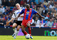 Photo: Alan Crowhurst.<br />Crystal Palace v Derby County. Coca Cola Championship. 29/04/2007. Derby's James McEveley (L) challenges with Clinton Morrison.
