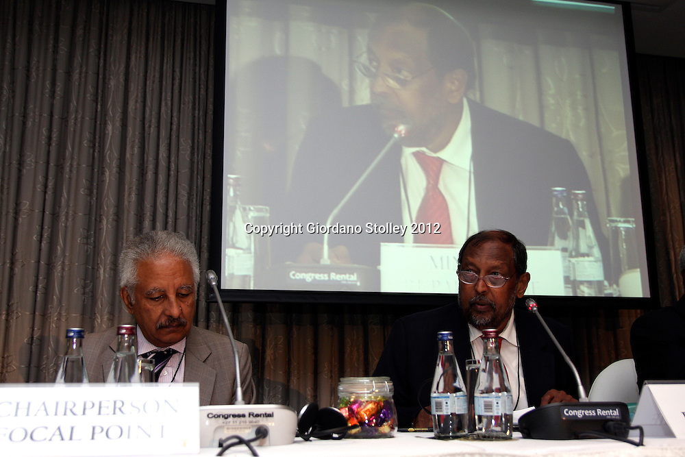 DURBAN - 13 April 2012 - Newai Gebreab, the Chairman of the Africa Peer Review Mechanism's (APRM) Focal Points Committee (left) looks at his notes as South Africa's Public Service and Administration Minister Roy Padayachie adresses the Focal Points Committee..*Postscript: Padayachie died in Addis Ababa while attending an APRM meeting on 5 May 2012..Picture: Giordano Stolley/Allied Picture Press/APP