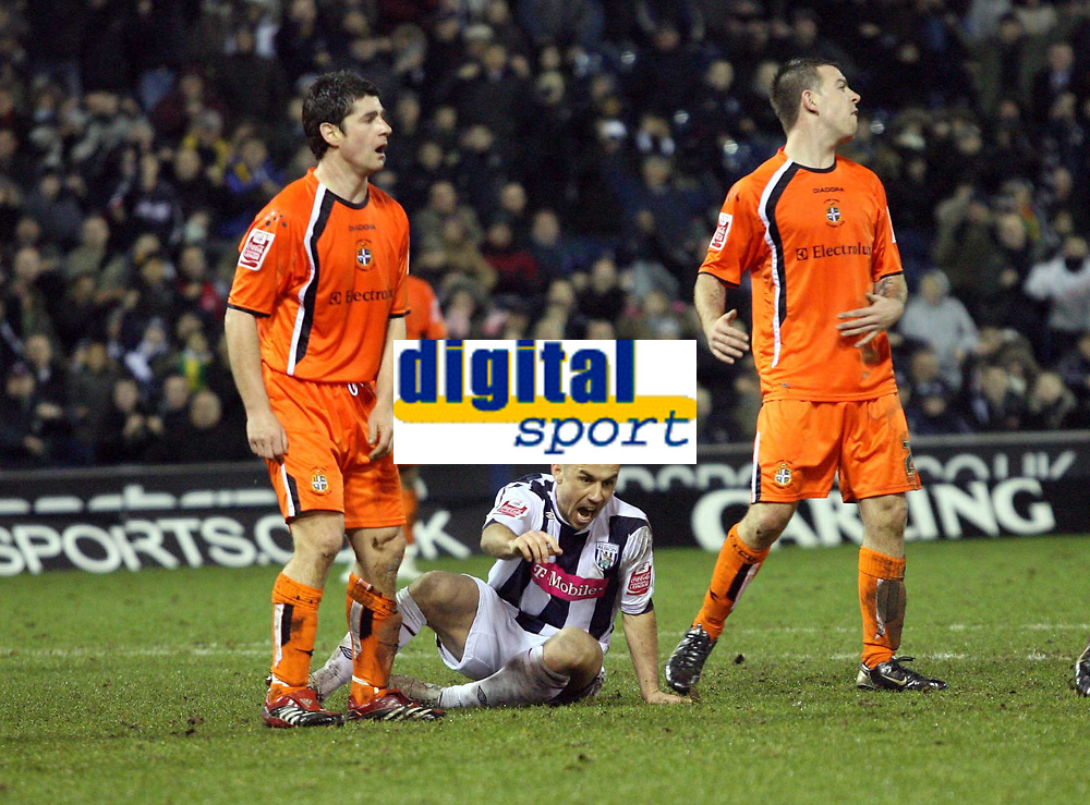 Photo: Rich Eaton.<br /> <br /> West Bromwich Albion v Luton Town. Coca Cola Championship. 12/01/2007. Kevin Phillips (centre on floor) of West Brom celebrates scoring the equalizer to make it 2-2 before scoring another to make it 3-2 in extra time