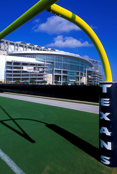 Stock photo of the view of Reliant Stadium from the adjacent practice football field