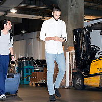 03 December 2014: Orlando Magic guard Evan Fournier (10) arrives at the Staples Center 2 hours prior to the Los Angeles Clippers 114-86 victory over the Orlando Magic, at the Staples Center, Los Angeles, California, USA.