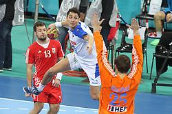 25.01.2013 Barcelona, Spain. IHF men's world championship, 3º/4º place. Picture show Jure Dobelsek in action during game between Slovenia vs Croatia at Palau St. Jordi