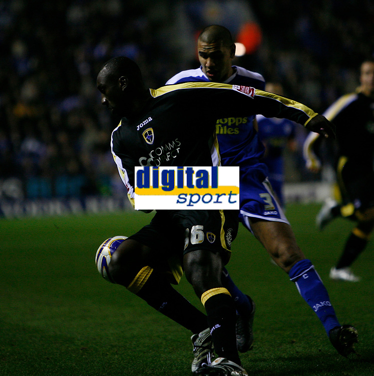 Photo: Steve Bond.<br /> Leicester City v Cardiff City. Coca Cola Championship. 26/11/2007. Jimmy Floyd-Hasselbaink (front) tries to turn past Patrick Kisnorbo