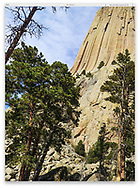 Looking up at Devils Tower on a sunny day, Wyoming, USA