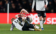 Louie Sibley of Derby County tackles Scott McTominay of Manchester United and catches him in the eye with a boot during the FA Cup match at the Pride Park Stadium, Derby. Picture date: 5th March 2020. Picture credit should read: Darren Staples/Sportimage