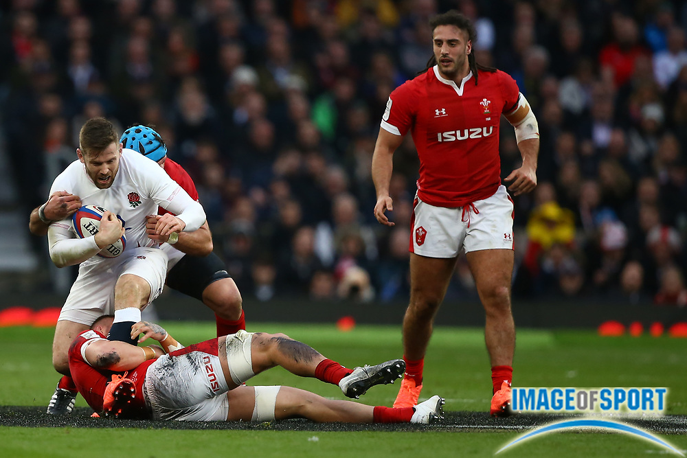 Elliot Daly of England  during the Guinness Six Nations between England and Wales at Twickenham Stadium, Saturday, March 7, 2020, in London, United Kingdom. (Mitchell Gunn-ESPA-Images/Image of Sport)
